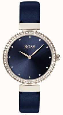 Boss | dames blauwe leren riem | blauwe wijzerplaat | 1502477