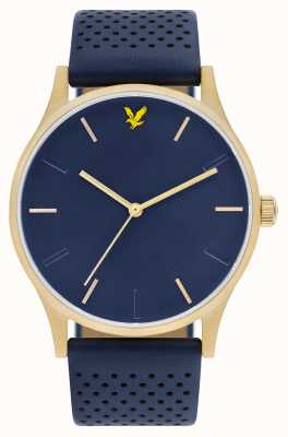 Lyle & Scott Mens hope le blue lederen band blauwe wijzerplaat LS-6014-04