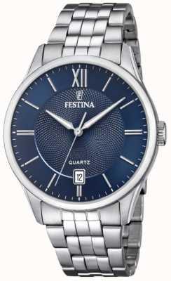Festina | heren armband van roestvrij staal | blauwe wijzerplaat | F20425/2