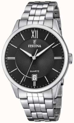 Festina | heren armband in edelstaal | zwarte wijzerplaat | F20425/3