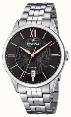 Festina | heren armband in edelstaal | zwart / rose dial | F20425/6