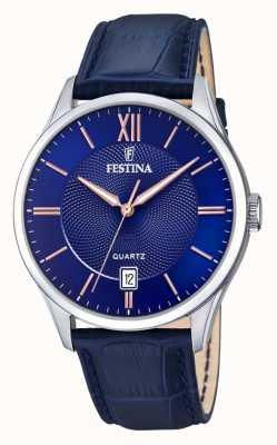 Festina | heren roestvrij staal | blauwe / rose wijzerplaat | blueleather | F20426/5