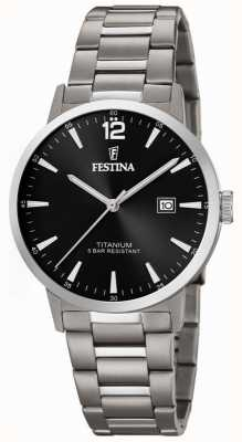 Festina | heren titanium horloge | zwarte wijzerplaat | titanium armband | F20435/3