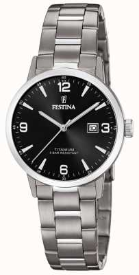 Festina | dames titanium horloge | zwarte wijzerplaat | titanium armband | F20436/3