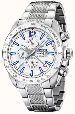 Festina | herenchronograaf & dubbele tijd | zilveren wijzerplaat | stalen armband F20439/1
