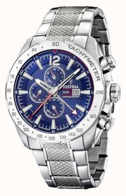 Festina | herenchronograaf & dubbele tijd | blauwe wijzerplaat | stalen armband F20439/2