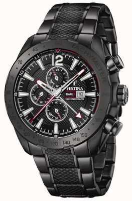 Festina | zwart vergulde heren chronograaf | roestvrijstalen armband | F20443/1