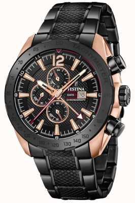Festina | mens blackrose plated chronograaf | stalen armband | F20481/1
