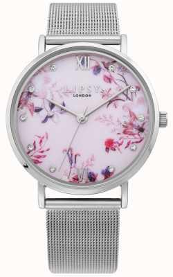Lipsy | dames zilveren mesh armband | lichtroze bloemen wijzerplaat | LP643