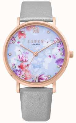Lipsy | grijze lederen band voor dames | lichtblauwe florale wijzerplaat | LP657