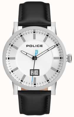 Police | heren collin horloge | zwarte leren riem | zilveren wijzerplaat | 15404JS/01