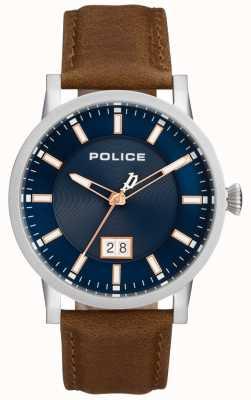Police | heren collin horloge | bruine leren riem | blauwe wijzerplaat | 15404JS/03