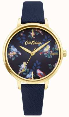 Cath Kidston | blauwe leren riem | blauwe florale wijzerplaat | CKL069UG