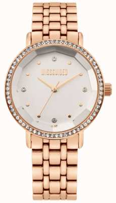 Missguided | dames roségouden roestvrij stalen armband | witte wijzerplaat | MG021RGM