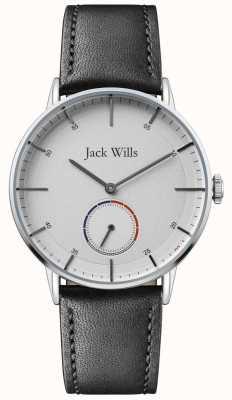 Jack Wills | mens batson ii | zwarte leren riem | witte wijzerplaat | JW002SLBK