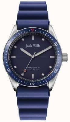 Jack Wills | mens mill bay | blauwe rubberen riem | blauwe wijzerplaat | JW015RBBL