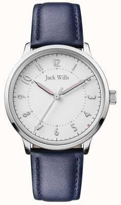Jack Wills | vrouwen knowle | blauwe leren riem | witte wijzerplaat | JW017WHNV