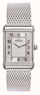 Michel Herbelin Mens esprit art deco roestvrij stalen mesh zilveren wijzerplaat 17468/22BM