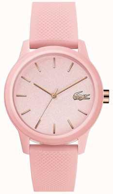 Lacoste 12.12 dames | roze siliconen band | roze wijzerplaat | 2001065