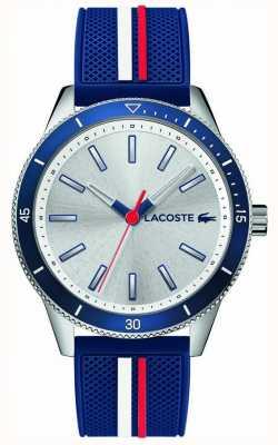 Lacoste | mens key west | blauwe siliconen riem | zilveren wijzerplaat | 2011006