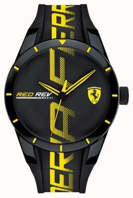 Scuderia Ferrari | mens redrev | zwarte rubberen riem | zwarte wijzerplaat | 0830615