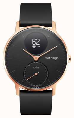 Withings Stalen hr 36mm roségouden zwarte wijzerplaat zwarte siliconen polsband HWA03B-36BLACK-RG-S.BLACK-ALL-INTER