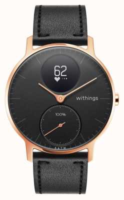 Withings Staal uur 36mm rosé goud zwart leer (+ zwarte siliconen band) HWA03B-36BLACK-RG-L.BLACK-ALL-INTER