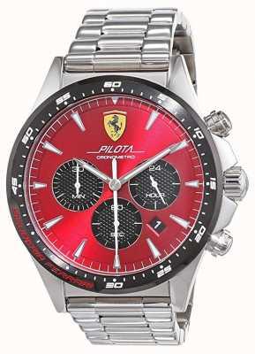 Scuderia Ferrari | mens pilota | roestvrijstalen armband | rode wijzerplaat | 0830619