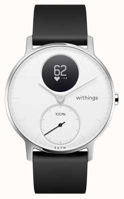 Withings Stalen hr 36mm witte wijzerplaat zwarte siliconen band HWA03-36WHITE-ALL-INTER