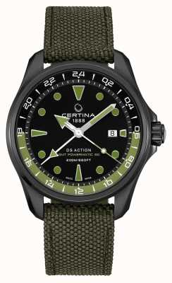 Certina Mens ds action gmt powermatic 80 groene riem zwarte wijzerplaat C0324293805100