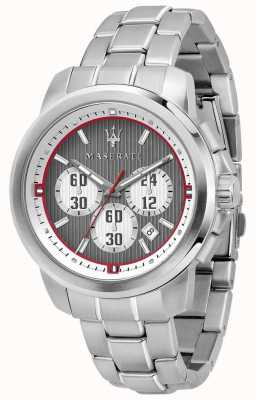 Maserati Royale chronograaf grijze wijzerplaat roestvrij stalen armband R8873637003