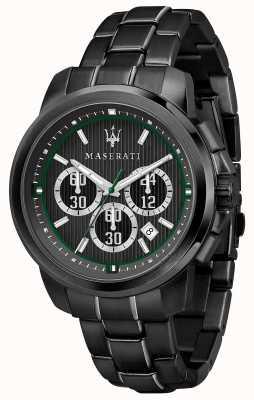 Maserati Royale chronograaf zwarte wijzerplaat zwart pvd verzilverd staal R8873637004