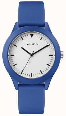Jack Wills | heren blauwe rubberen riem | witte wijzerplaat | JW009BTBL