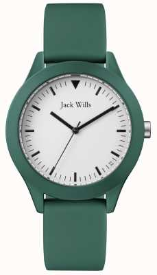 Jack Wills | heren groen rubberen bandje witte wijzerplaat | JW009GRGR