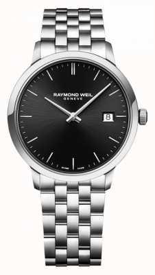 Raymond Weil heren toccata roestvrijstalen armband | zwarte wijzerplaat | 5485-ST-20001