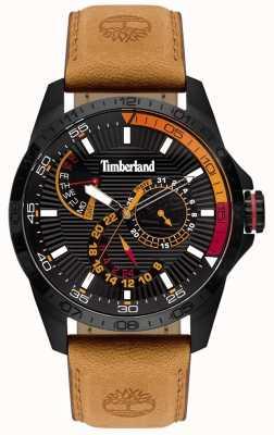 Timberland | heren oakham horloge | leren riem van bruin | zwarte wijzerplaat | 15641JSB/02