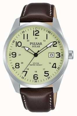 Pulsar Mens sport zonne bruin lederen band PX3165X1