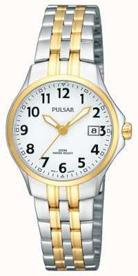 Pulsar Dames two tone roestvrijstalen armband witte wijzerplaat PH7222X1
