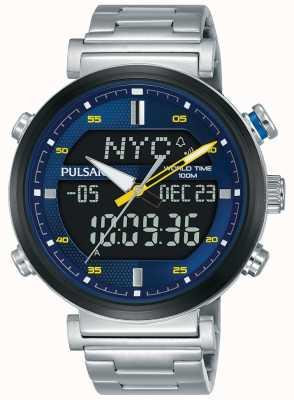 Pulsar Mens roestvrij staal digitale analoge blauwe wijzerplaat PZ4049X1