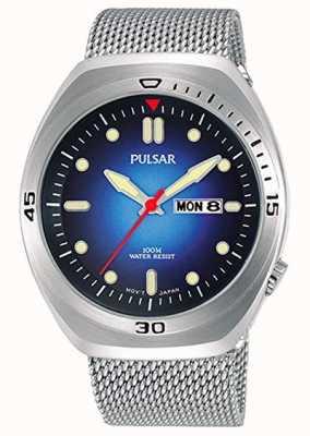 Pulsar Heren blauwe wijzerplaat roestvrij staal mesh extra lederen band PJ6097X2