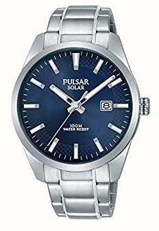 Pulsar Mens zonne-blauwe wijzerplaat roestvrij stalen armband PX3181X1