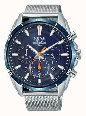 Pulsar Heren solar chronograaf blauwe wijzerplaat mesh armband PZ5085X1