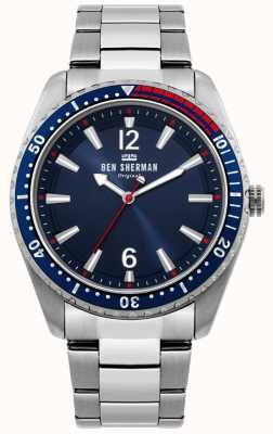 Ben Sherman   mens ronnie duikerhorloge   blauwe zonneknop WB037USM