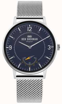 Ben Sherman | portobello-erfgoed voor heren | blauwe wijzerplaat | zilver gaas | WB034USM