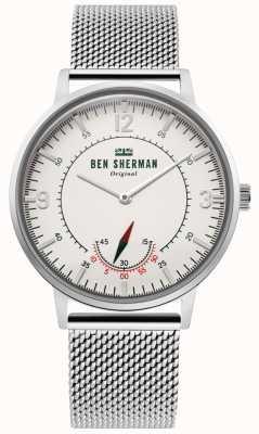 Ben Sherman   portobello-erfgoed voor heren   off white dial   roestvrij gaas WB034SM