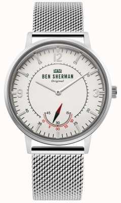 Ben Sherman | portobello-erfgoed voor heren | off white dial | roestvrij gaas WB034SM