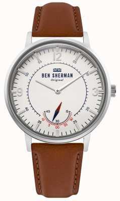 Ben Sherman   portobello-erfgoed voor heren   off white dial   bruin leer   WB034T