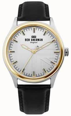 Ben Sherman   heren harrison   zwarte leren riem   zilveren wijzerplaat   WB036B