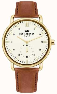 Ben Sherman | mens brighton stad | bruine leren riem | witte wijzerplaat | WB033TG