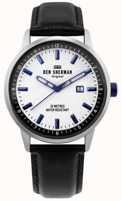 Ben Sherman | mens daltrey professional | zwart leer | witte wijzerplaat | WB030B